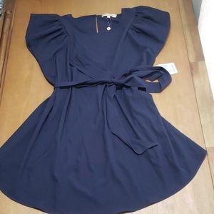 Kimi + kai navy blue belted maternity dress size L
